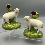 Vtg English Staffordshire Pair Of Sheep Mantle Spill Vases Right And Left Facing