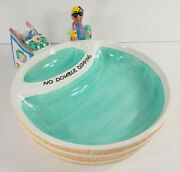 J Wagner Maxine With Dog Swimming Pool Ceramic Chips And Salsa Dip Serving Tray