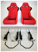 Pair 2 F1spec Type 3 Red Cloth Racing Bucket Seats Jdm For Evo 8/9 03-07