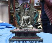 Tibet Copper Silver Handwork Inlay Turquoise Red Coral Gemstone Tathagata Statue