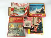 5pc Vintage Puzzle Gold Seal Perfect Picture Built Rite Boats Church Pioneers