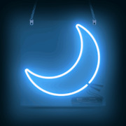 New Blue Moon Real Glass Neon Sign 14x14 Wall Bedroom Decor Artwork