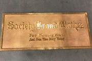 """Brass Sign Vintage Solid Bronze Society Brand Clothes For Young Men 14x6"""""""