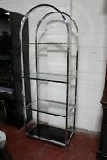 Milo Baughman For D.i.a. Chrome And Glass Shelving Unit 1970and039s Mid Century Modern