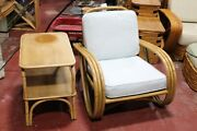 1950s Bamboo Rattan Chair And Table Paul Frankl Style Mid-century Modern