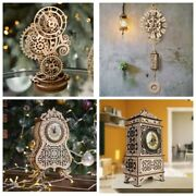Clock Model Contemporary Puzzles 3d Wooden Mechanical Model Kit Wood Educational