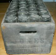 Wood Crate Of 24 Johnnie Collins And Jones Soda Bottles 1920's Fonda, Ny - Dirty