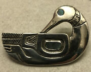 Patty Fawn Rare Sterling Mop Signed Numbered Duck Goose Pin Brooch Kwakiutl