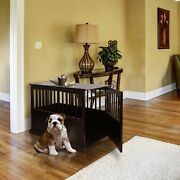Casual Home Pet Crate End Table Espresso Lockable Gate Solid Wood 27.75h New