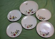 Pauls Italy Vintage Mid Century Pottery Plates 6 Ea Bird On Branch Hand Painted