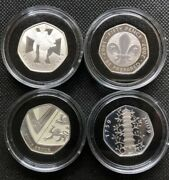 Great Britain Uk 50 Pence 2009 Silver Proof 16coins 40th Anniversarykew Gardens