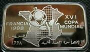 Saharawi Arab 1000 Pesetas 1997 Silver Proof Coin 16th World Cup Ball And Map