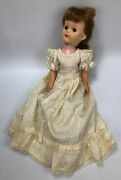 Vintage Effanbee Champagne Lady 20 1950and039s Vinyl And Plastic Doll White Dress Al