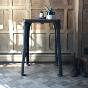 Antique Industrial Side Table, Antique Workbench Table Cast Iron Legs