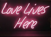 New Love Lives Here Pink Light Lamp Neon Sign 14x8 Artwork Glass Wall Decor