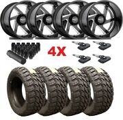 Gloss Black Milled Forged 22x14 Wheels Rims Tires 35 12.50 22 8x180 2500 3500