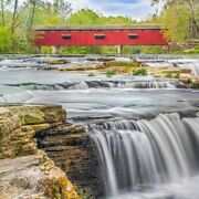 Red Covered Bridge 126 Piece Small Wooden Jigsaw Puzzle | Zen Puzzles