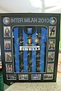 2010 Inter Milan Triple Champions Hand Signed And Framed Shirt/jersey + Coa