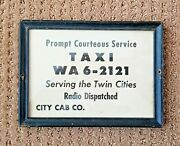 Vintage City Cab Co. Radio Dispatched Taxi Telephone Lobby Card Paper Sign Frame