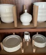 Mikasa Ultima + Antique White 62-pc Dinnerware Plates Cups Bowls Set For 8 / New
