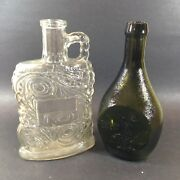 2 Old Glass Bottles Empty Clear Federal Law Forbids Sale And Green Summer Savory