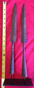 Find Mounted Pair Of 19th Century South Asian Spear Points On Custom Steel Base