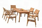 A-grade Teak 7pc Dining 60 Rectangle Table 6 Vellore Stacking Arm Chairs Set