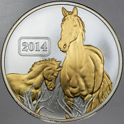 2014 New Zealand Tokelau 5 Year Of The Horse Gold Gilded Proof In Box W/coa