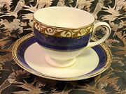 Wedgewood England Rococo Cup And Saucer - 2 3/4 Blue Band Gold Scroll Bone China