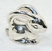 And Co. Sterling Silver Rabbit Baby Teether Rattle In Pouch And Box