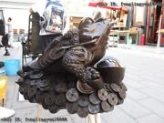 China Bronze Copper Lucky Feng Shui Evil Coin Money Wealth Toad Gold Toad Statue