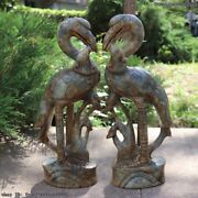 Chinese Palace Old Jade Stone Hand Carved Red-crowned Crane Bird Statue A Pair
