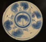 Large Antique Spanish Tin Glaze Pottery Bowl In Blue And White.13 Andfrac14andrdquo D. 16th/17th