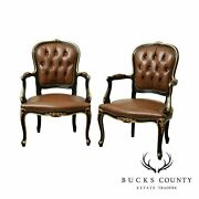 French Louis Xv Style Black And Gold Pair Brown Tufted Leather Fauteuil Armchairs