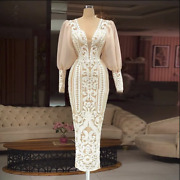 Plus Size White Sequin Evening Gowns Long Sleeve For Women Wedding Party Formal
