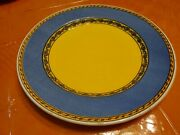 Italy Furio Fuo42 Yellowand Blue Rimmed W/rimmed Yellow Center Dinner Plate 10