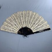 Antique Vtg Faux Tortoise Shell And Lace Folding Hand Fan