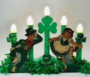 Green St. Patrickand039s Day Candolier/window Candle W/vintage Irish Dennison Andhalos