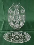 2 Piece Eapc Star Of David Glassware Split Divided And Relish Dish Please Read