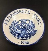 Vtg Signed 1988 Renaissance Faire Plate Pottery Hand Thrown Painted Blue And White