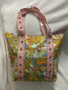 Hello Kitty X Eva Air Vintage Vivid Flower Tote Bag With Studded Straps Bnwot