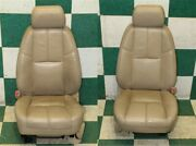 07-09 Gm Suv Tan Leather Heated Driver Passenger Front Power Bucket Seats 2x Oem