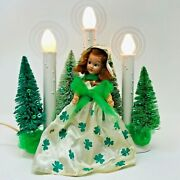 St. Patrickand039s Day Candolier/window Candle W/vintage Irish Doll And Halos