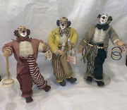 3 Vintage Show-stoppers Performing Porcelain Clowns Figurines 13 1/2andrdquo W Stands