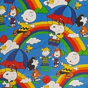 Sears Peanuts Rainbow Sheet Coverlet Vintage 70s Snoopy Fabric Cutter 74x105 In