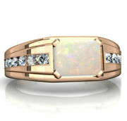 Natural Fire Opal Real Diamond Gemstone 14k Rose Gold Men's Ring Jewelry 2140