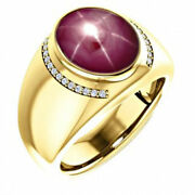 22k Solid Yellow Gold Natural Star Ruby Diamond Gemstone Menand039s Ring Jewelry