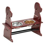 Wood Adjustable Hight Dog Feeder Wooden Pet Feeder With 2 Stainless Steel Bowls