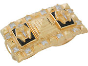 10k Or 14k Two-tone Gold Egyptian King Tut Pyramid Onyx And Cz Two Finger Ring