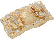 10k Or 14k Two-tone Gold Egyptian Pyramid Pharaoh Queen Cz Two Finger Ring